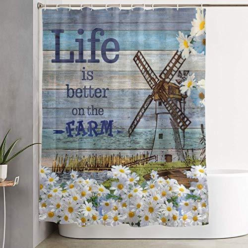 UOER Rustikaler Bauernhaus-Duschvorhang, Life is Better On The Farm Badewannenvorhang, weiße Gänseblümchen auf Holzbrett, Duschvorhang, süßer Bauernhof, Badezimmer-Zubehör-Set, 183 x cm mit 12 Haken