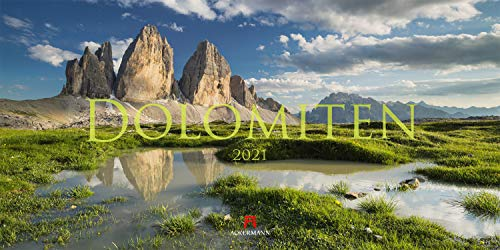 Dolomiten Kalender 2021, Wandkalender / Panoramakalender im Querformat (66x33 cm) - Landschaftskalender / Naturkalender
