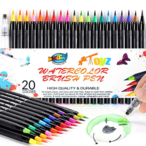 20 Colors Watercolor Brush Pens,Paint Markers,Watercolor Markers,Real Brush Pens with Flexible Nylon Brush Tips for Drawing, Painting, Coloring, Calligraphy for Artists and Beginner