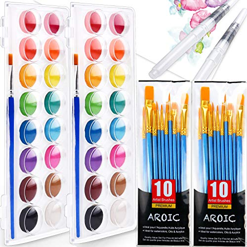 AROIC 16-Color Watercolor Paint Set-2 Sets, Includes 22 Brushes and 2 refillable pens. The Best Gift for Beginners, Children and Art Lovers.