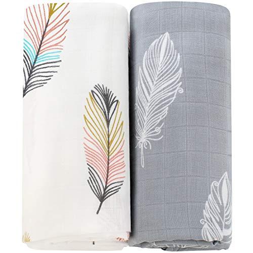 LifeTree Musselin Baby Decke Pucktücher, Bambus Baumwolle für Jungen und Mädchen, 2 Stück Pucktücher Kuscheldecke Baby Baumwolldecke 120x120cm, Feder Design