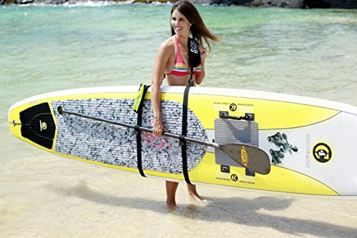 SUP-Now Paddle Board Carrier/Storage Sling 2 ADJUSTS MORE THAN OTHER STRAPS: Works great for paddleboarders of all heights and fits all paddleboards. Whether you are 6'5 with a large paddleboard or you are 4'3 with a small surfboard, our strap will work for you! TRIPLE PADDED SHOULDER PAD: Our shoulder pad is made from soft and durable NEOPRENE for maximum comfort. The idea of these straps is to carry the weight of your board on your shoulder. We put a lot of time and effort making our shoulder pad FAR SUPERIOR to others on the market. REMOVABLE DRAWSTRING BAG: Carry your water bottle, sunscreen or other personal items.