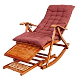 Nurth 3-in-1 Wooden Rocking Chairs/Adirondack Chair Foldable/Sun Lounger Chairs & Recliners Outdoor Folding Rocker Made of Bamboo, with armrest Foot Massage Pillow, Portable Deck Recliner Seat 330Ib