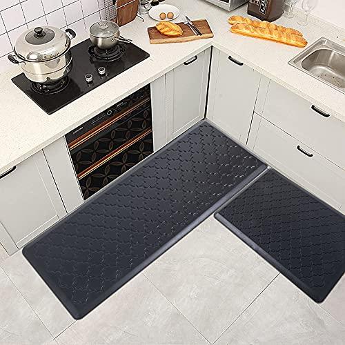 IMYOTH Kitchen Mat Anti-Fatigue Cushioned Floor Mat Set 2 Piece 20'x30'+20'x48' Thick Non-Slip Waterproof Kitchen Mats Ergonomic Comfort Standing Mat Rug for House, Sink, Office, Desk, Black
