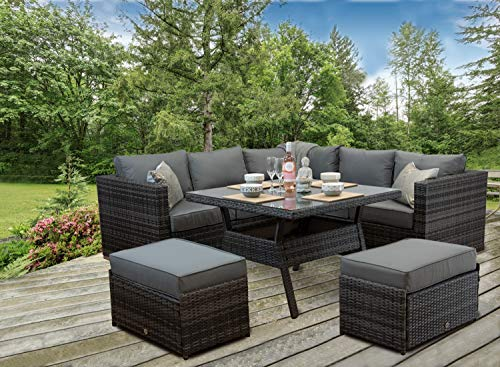 Furniture For The Home Rattan Patio Outdoor Garden Corner Sofa Dining Table Chairs Set Aluminuim (Grey Weave)