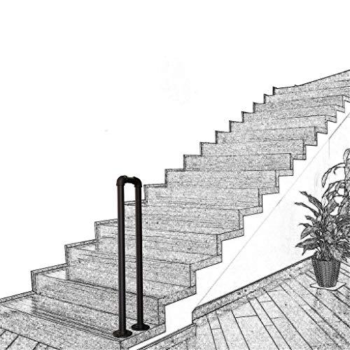 Übergangs handlauf Treppengeländer Geländer Eingangsgeländer Brüstungsgeländer Industrie U-Typ Schmiedeeisen Rohr, handlaufhalter Passt 1 oder 4 Schritte Matt-schwarz