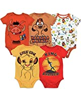Disney Lion King Baby Boys' 5 Pack Bodysuits Simba Timon Pumbaa, 18 Months