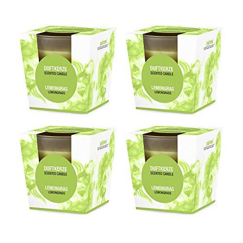 pajoma Duftkerze 4er Set, Lemongras, im satinierten Glas, 4x 124 g, Brenndauer: 25 Stunden, in edler Geschenkverpackung