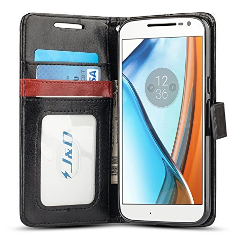 Moto G4/G4 Plus Funda, J&D [Protección de Cartera] [Soporte Plegable] Funda Pesada Resistentes Billetera para Motorola Moto G4, Moto G4 Plus - Negro