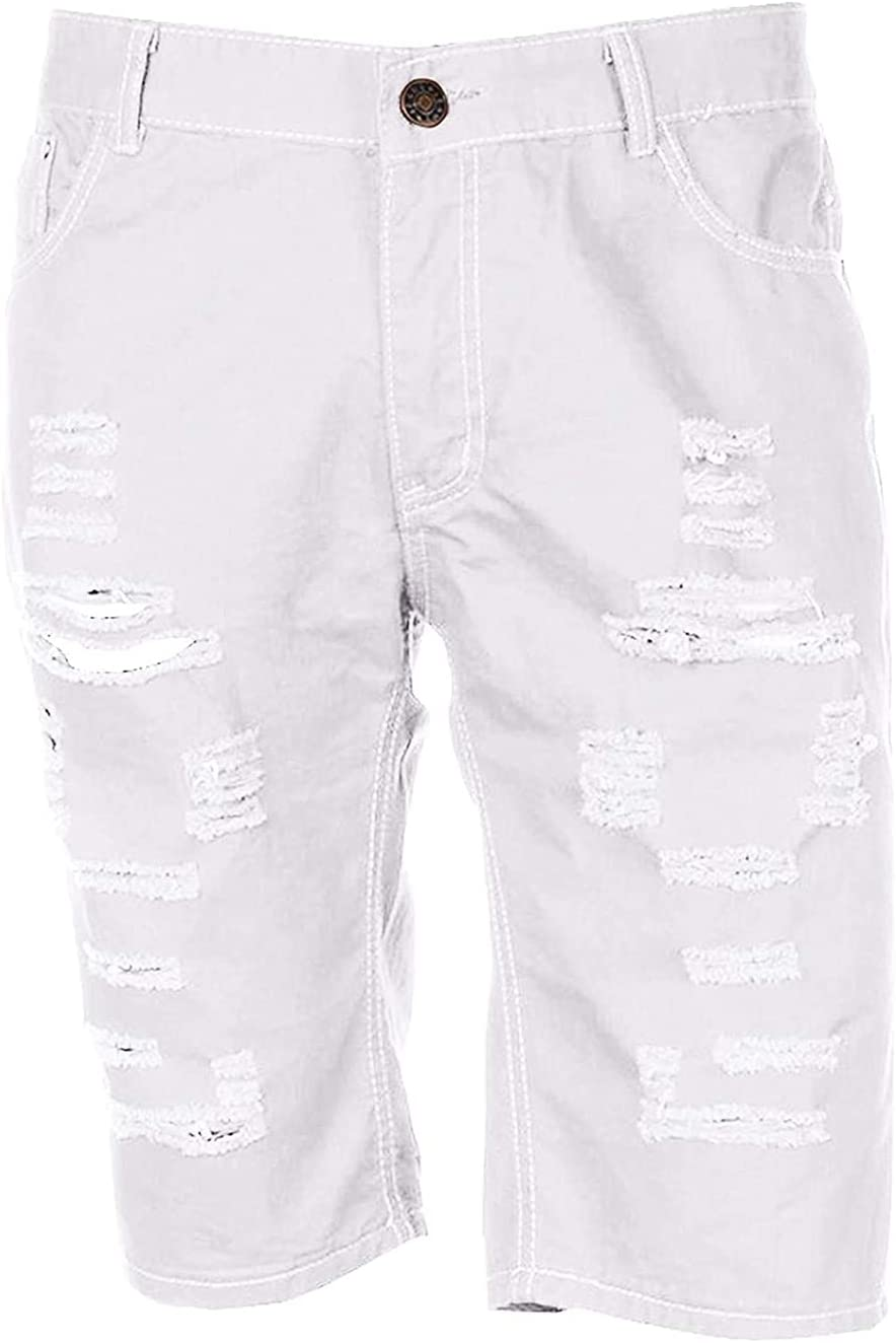 Men's Mid-Rise Fashion Ripped Denim Shorts Classic Fit Distressed Washed Jeans Shorts Straight Fit Repair Rips Jean Short (White,Medium)