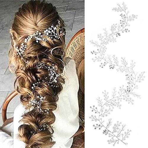 Yean Bride Wedding Headband Rhinestones Silver Bridal Hair Vine Baby Breath Hair Accessories for Women and Girls