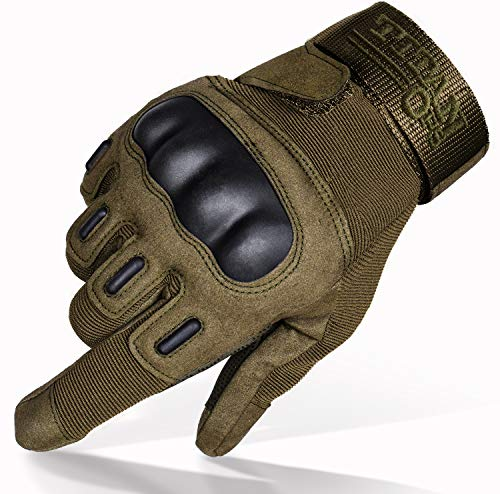TitanOPS Full Finger Hard Knuckle Motorcycle Military Tactical Combat Training Army Shooting Outdoor Gloves (Green, L)