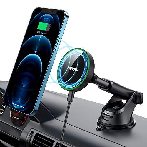 Mpow Caricatore Wireless Auto, Magnetico Supporto Cellulare Auto per Cruscotto con Caricabatterie Wireless Rapido per iPhone 12, Compatibile con iPhone 12 12 PRO 12 PRO Max 12 Mini Custodia MagSafe