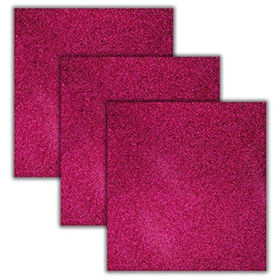 Deep Pink Glitter Heat Transfer Vinyl Sheets/HTV 3 Pack Bundle/Cricut, Silhouette Cameo, Iron On Or Heat Press Machine/Make Amazing T Shirts/Exceptional Quality/USA Packed-10 1/12 X 9 5/8
