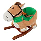Rocking Horse Plush Animal on Wooden Rockers with Seat & Seat Belt and Sounds,...