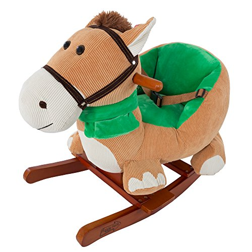Rocking Horse Plush Animal on Wooden Rockers with Seat & Seat Belt and Sounds, Ride on Toy for Babies 1-3 Years, by Happy Trails - Brown