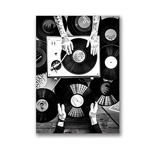Vinyl Lovers Wall Art Canvas Painting Nordic Poster And Print Vintage Photo Black White Wall Picture Living Room Decor 20X30CM SIN marco