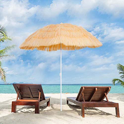 LDJ Parasol De Plage Parapluie 6ft/1.8m Parapluie De Parasol De Paille De Plage Hawaïenne Tropicale, avec 8 Nervures Simulation Parapluie De Paille pour Jardin, Balcon, Terrasse