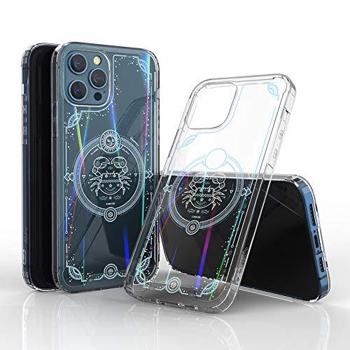 Schutzhülle für iPhone 12 / Pro, transparent, Regenbogen-Sternzeichen-Muster, Krebs