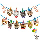 Funnlot Cat Birthday Banner Not Need DIY Cat Themed Birthday Party Supplies Cat Decorations Cat Garland Cat Faces Banner for Birthday Party Decor