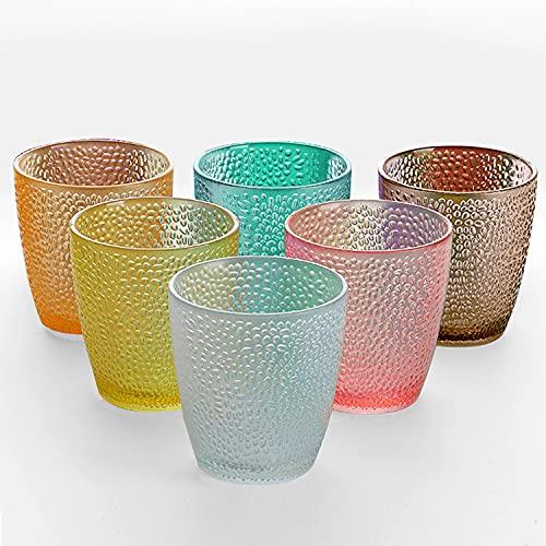 TIANTOU Bicchieri in Plastica, Impilabili, Diversi Colori, 290 ml Punti Acrilici Bicchieri in Plastica per Casa, Festa, Hotel, Bar 6 Pezzi