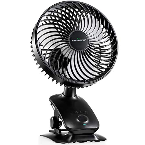 KEYNICE Clip on Fan, 5000mAh Rechargeable Battery Operated Desk Fan, Auto Oscillating Fan with 3 Speeds and Intermittent Wind Setting, Mini Cooling Fan for Stroller Office Home Outdoor Activities