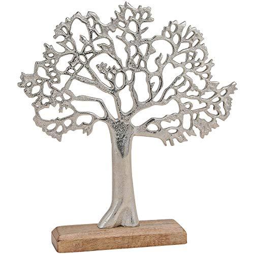 matches21 Skulptur Deko Baum aus Metall & Holz Holzfigur Metallfigur Skulptur Dekoration Silber/braun 1 STK 30x5x33 cm