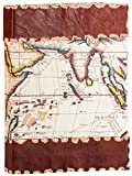 Tuk Tuk Press, Handmade Leather Journal Writing Notebook, Unlined Cotton Pages, Best Travel Diary, Vintage World Map Cover 6 x 4 Inches