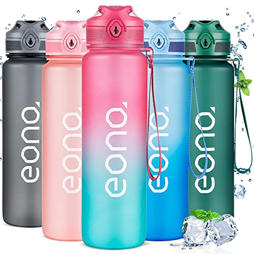 Amazon Brand - Eono Botella de Agua Deportiva 1L, Botella Agua con...