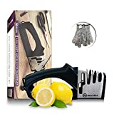 4 in 1 Knife Sharpener - Preps , Repairs , Sharpens, and Polishes Most Knives - 2 Cut Resistant Gloves Included