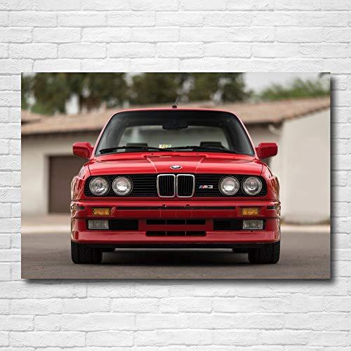 Pintura decorativa Carteles de supercoche clásico BMW M3 Coupe E30 rojo coche pared arte cartel lienzo pinturas impresas para la decoración de la habitación del hogar 60x80cm