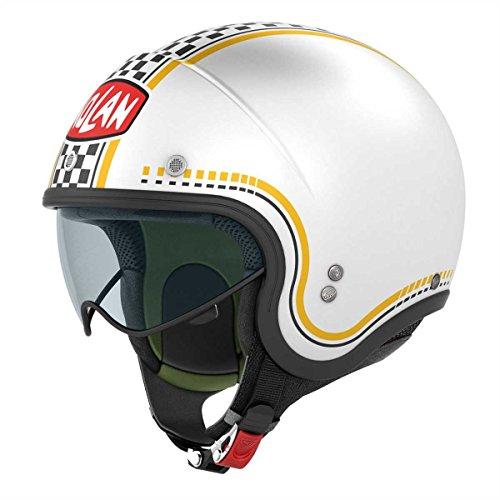 Nolan X-Lite - Casco Nolan Jet N21 Lario Bianco Giallo Scacchi 003 Cafe Race Taglia M
