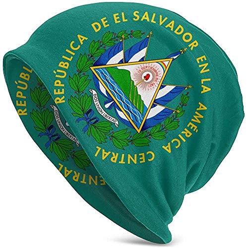 El Salvador Flag Gorro Holgado de Punto Holgado Beanie Hat Hip-Hop Skull Cap para Hombres y Mujeres Negro CAP-007