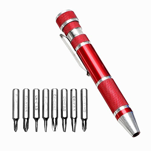 itimo diywork 8in 1Schraubendreher Handy Reparatur Werkzeug Kit Multitool Precision Pen Style Aluminium Precision Schrauber Set (rot)
