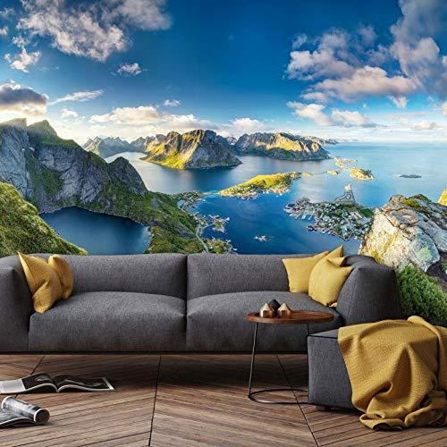 Fototapete Roemmelt - Aussicht vom Reinebringen Natur Landschaft Meer Norwegen Insel Lofoten Foto Fotografie Wall-Art -