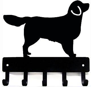 The Metal Peddler Golden Retriever Key Rack Dog Leash Hanger Large 9 inch wide Black KR-GoldenRet-LG