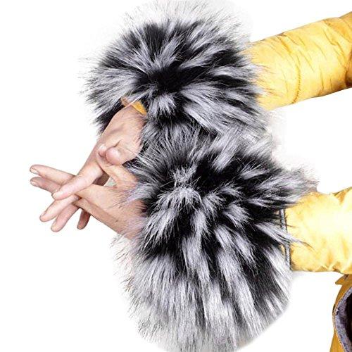 TONSEE 2018 Frühling Herbst Winter warme Fell Manschette Handschuhe Imitation Kaninchen Pelz Ärmel weiblichen Handgelenk Armband Fell Winter Sätze (Weiß)