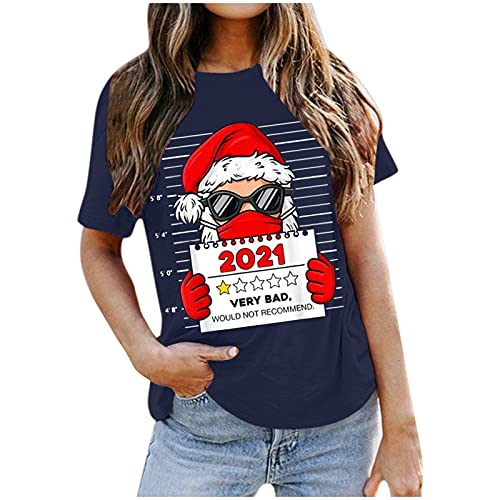 Merry Christmas T Shirts for Women Xmas Tree Santa Claus Deer Graphic Top Short Sleeve Crewneck Casual Holiday Blouse (05 Navy, S)