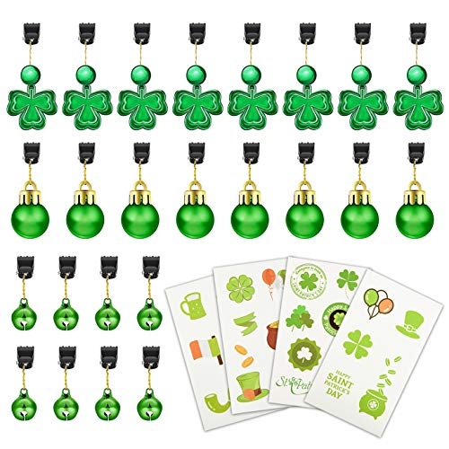 WXJ13 24 STKS 3 Stijlen St.Patrick's Dag Klaver Baard Clip Kralen Bell Baard Clips Ornamenten met 4 Vellen Shamrock Tattoos Stickers voor St.Patrick's Day Party Favor Accessoires