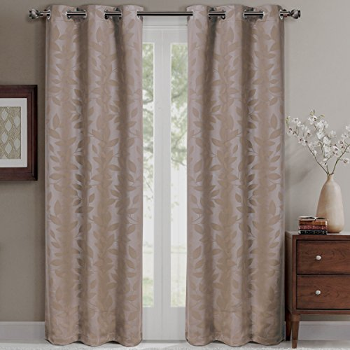 Royal Hotel Virginia Taupe Grommet Blackout Weave Embossed Window Curtain Panels, Pair/Set of 2 Panels, 37x108 inches Each