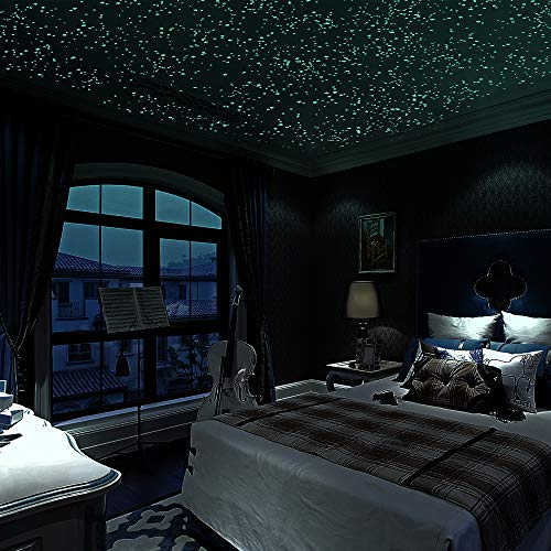 1037 Pcs Ultra Glow in The Dark Stars Wall Stickers, 3D Adhesive Dots Wall Decals for Starry Sky,...