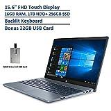 2020 HP Pavilion 15.6' FHD Touchscreen Laptop Computer, Intel Core i7-1065G7, 16GB RAM, 1TB HDD+256GB SSD, GeForce MX250 Graphics, Backlit Keyboard, B&O Audio, Win 10, Blue, 32GB Snow Bell USB Card