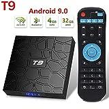 Android 9.0 Receptor de TV, T9 4GB de RAM 32 GB ROM Android Box Full HD 4K RK3318 Quad Core de 64 bits dual Bluetooth 4.1 WIFI 2.4G y 5G Ethernet Set Top Box Internet Reproductor de vídeo Media Player
