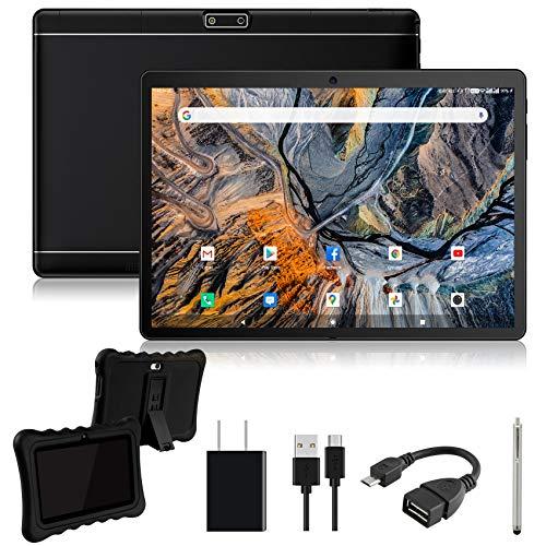 Tablet 10.1 pollici 3G telfon,32GB ROM, due slot per schede SIM, doppia fotocamera, WiFi Bluetooth GPS OTG Quad Core HD touchscreen Chiamate 3G tablet ZONKO con copertura protettiva e penna nera