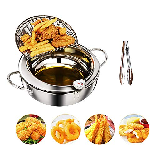 Deep Fryers For the Home DIY Cooking Pot With Oil Filter Rack & Thermometer Stainless Steel Japanese Style ( Food tongs Included )