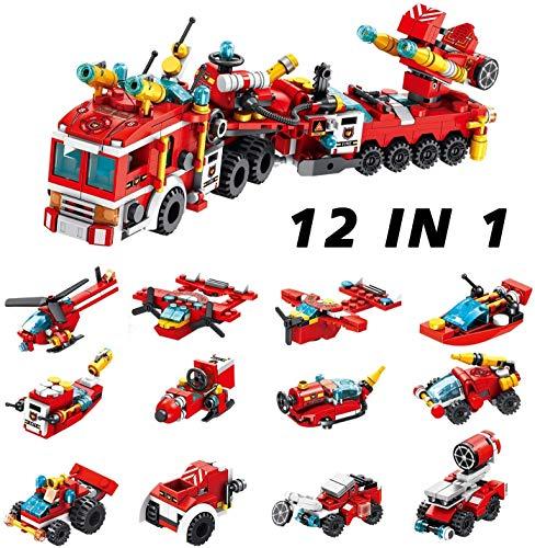 Zenghh City Fire Truck Gebäude-Spielzeug-Set, 12-in-1 Bildung Spielzeug, Tight Fit und kompatibel mit den meisten großen Marken 557 PCS Gebäude Science Experiment Kit for Kinder im Alter von 6 Jahre a