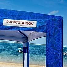 Cool Cabanas 5 UPF 50 Cotton Poly Canvas, Providing 50+ UV Protection, 8 Pockets Easy Go CoolCabana Beach Canopy Pop Up Sun Shelter for Outdoor Camping Portable Beach Umbrella-Size L-Navy Pineapples