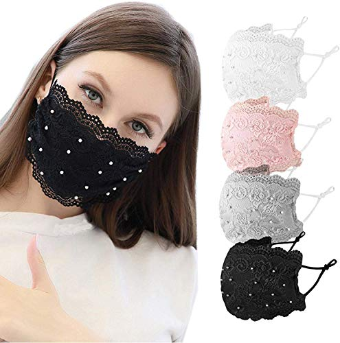 Fancy Lace Pearl Face Mask Covering…