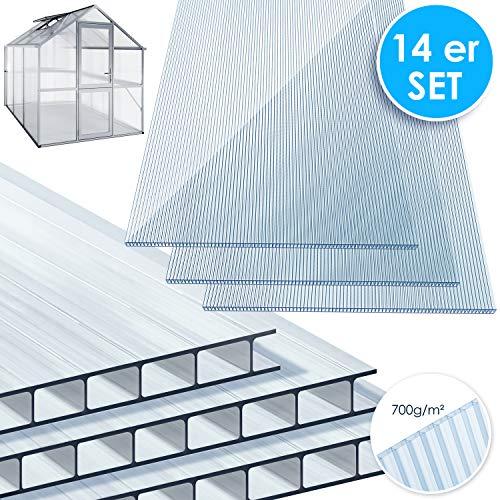 KESSER® 14x Polycarbonat Hohlkammerstegplatten 4mm | 10,25 m² Doppelstegplatte - 1210x605 | Stegplatte Gewächshausplatte | stoßsicheren und UV-beständigen | Für...