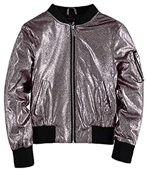 Urban Republic Girls  Metallic Glitter Bomber Jacket  Silver 3T